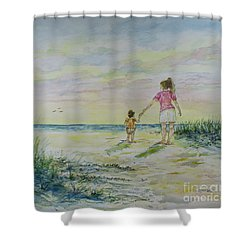 Mommy And Me At The Beach Shower Curtain