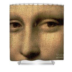 Mona Lisa    Detail Shower Curtain by Leonardo Da Vinci