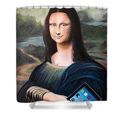 Mona Lisa With Ipad Shower Curtain by John Lyes