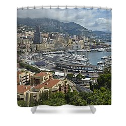 Shower Curtain featuring the photograph Monaco Harbor by Allen Sheffield