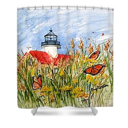 Monarch Butterflies At East Point Light Shower Curtain