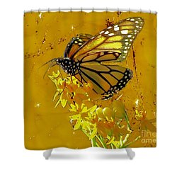 Shower Curtain featuring the photograph Monarch On Gold by Janette Boyd