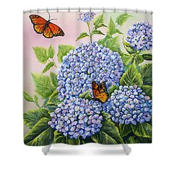 Monarchs And Hydrangeas Shower Curtain