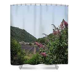 Monastery Lavender And Lilac Shower Curtain by Pema Hou