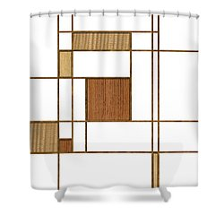 Mondrian In Wood Shower Curtain