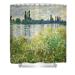 Monet's Banks Of The Seine At Vetheuil Shower Curtain by Cora Wandel