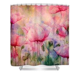 Monet's Poppies Vintage Warmth Shower Curtain