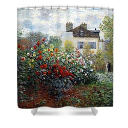 Shower Curtain featuring the photograph Monet's The Artist's Garden In Argenteuil  -- A Corner Of The Garden With Dahlias by Cora Wandel