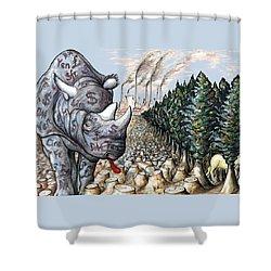 Money Against Nature - Cartoon Art Shower Curtain by Art America Online Gallery