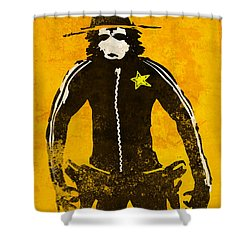 Monkey Sheriff Shower Curtain by Pixel Chimp