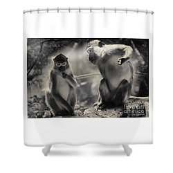 Shower Curtain featuring the photograph Monkeys In Freedom by Christine Sponchia
