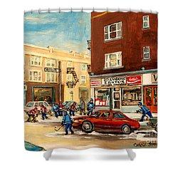Monkland Street Hockey Game Montreal Urban Scene Shower Curtain by Carole Spandau