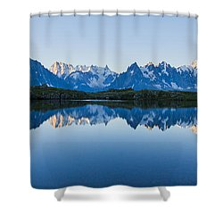 Mont Blanc Massif Panorama Shower Curtain by Mircea Costina Photography