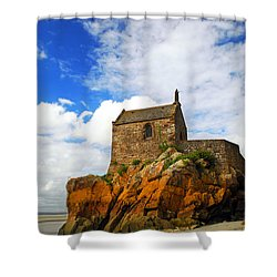 Mont Saint Michel Abbey Fragment Shower Curtain by Elena Elisseeva