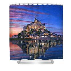 Mont Saint-michel Soir Shower Curtain