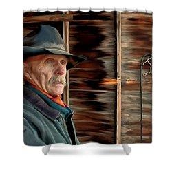 Montana Cowboy Shower Curtain by Michael Pickett