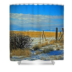 Montana Fencerow Shower Curtain by Desiree Paquette