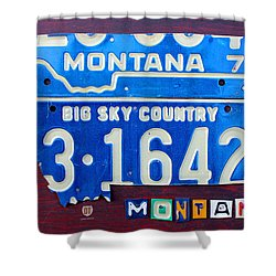 Montana License Plate Map Shower Curtain by Design Turnpike