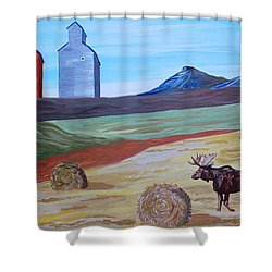 Montana Moose Shower Curtain by Mike Nahorniak