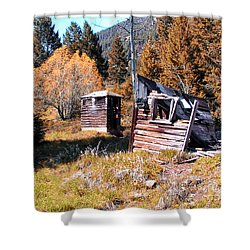 Montana Outhouse 01 Shower Curtain by Thomas Woolworth