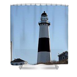 Montauk Lighthouse As Seen From The Beach Shower Curtain by John Telfer