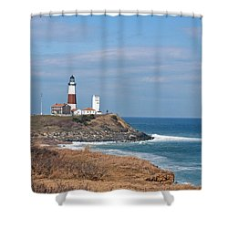 Shower Curtain featuring the photograph Montauk Lighthouse/camp Hero by Karen Silvestri
