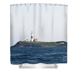 Montauk Lighthouse From The Atlantic Ocean Shower Curtain