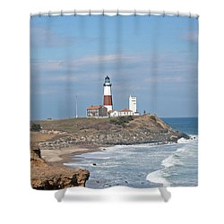 Shower Curtain featuring the photograph Montauk Lighthouse View From Camp Hero by Karen Silvestri