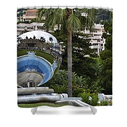 Shower Curtain featuring the photograph Monte Carlo Casino In Reflection by Allen Sheffield