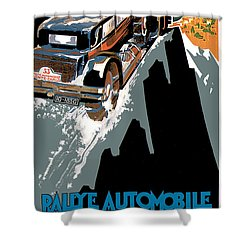 Monte Carlo - Vintage Poster Shower Curtain by World Art Prints And Designs