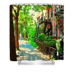 Montreal Art Colorful Winding Staircase Scenes Tree Lined Streets Of Verdun Art By Carole Spandau Shower Curtain by Carole Spandau