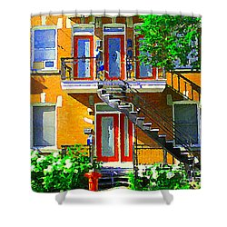 Montreal Art Seeing Red Verdun Wooden Doors And Fire Hydrant Triplex City Scene Carole Spandau Shower Curtain by Carole Spandau