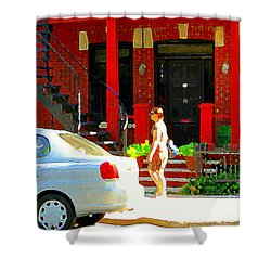 Montreal Art Summer Stroll On A Sunny Morning Colorful Street Verdun City Scene Carole Spandau Shower Curtain by Carole Spandau