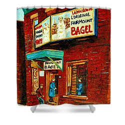 Montreal Bagel Factory Famous Brick Building On Fairmount Street Vintage Paintings Of Montreal  Shower Curtain by Carole Spandau