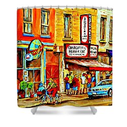 Montreal Bike Path Reserved Lane Cyclists Drive By Schwartzs Deli  Line-up Montreal Paintings Shower Curtain by Carole Spandau