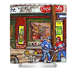 Montreal Hockey Paintings At The Corner Depanneur - Piche's Grocery Goosevillage Psc Griffintown  Shower Curtain by Carole Spandau