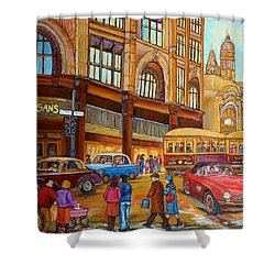 Montreal Memories-streetcars-morgan's Department Store At St.catherine And Union Shower Curtain by Carole Spandau