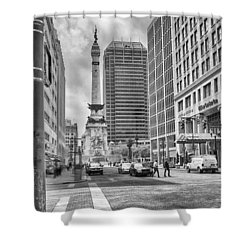 Monument Circle Shower Curtain by Howard Salmon