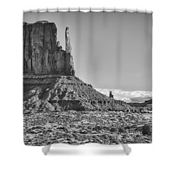 Shower Curtain featuring the photograph Monument Valley 3 Bw by Ron White