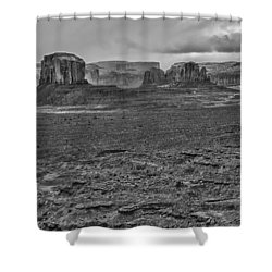 Shower Curtain featuring the photograph Monument Valley 4 Bw by Ron White