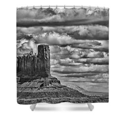 Shower Curtain featuring the photograph Monument Valley 6 Bw by Ron White