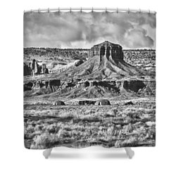 Shower Curtain featuring the photograph Monument Valley 7 Bw by Ron White