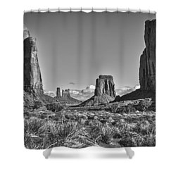 Shower Curtain featuring the photograph Monument Valley 8 Bw by Ron White