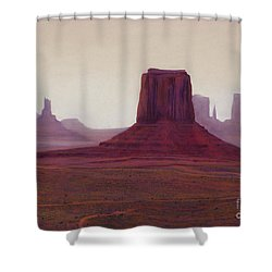 Monument Valley- Haze Shower Curtain by Xenia Sease