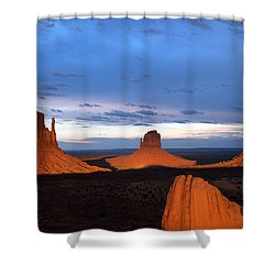 Shower Curtain featuring the photograph Monument Valley @ Sunset 2 by Jeff Brunton