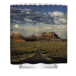 Monument Valley Panorama Shower Curtain by Steve Gadomski