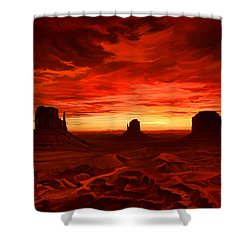 Shower Curtain featuring the painting Monument Valley Sunset by Tim Gilliland