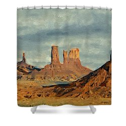 Shower Curtain featuring the painting Monumental by Jeff Kolker