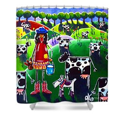 Moo Cow Farm Shower Curtain by Jackie Carpenter