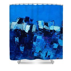 Mood In Blue Shower Curtain